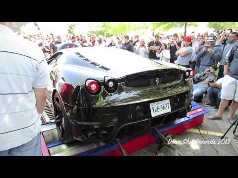 LOUD Blacked Out Ferrari F430 Dyno w/t Massive Downshifts