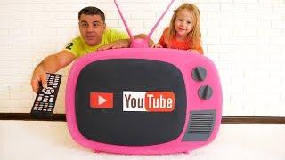 Stacy e dad jogar com magic tv