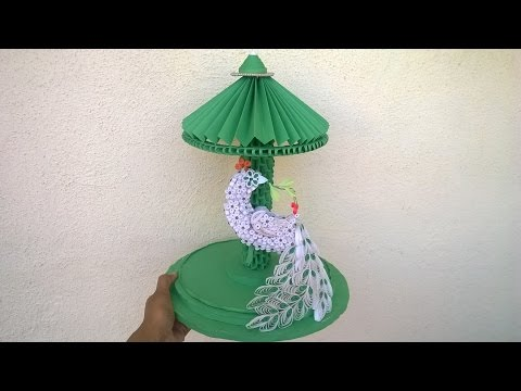 How to make peacock with paper quilling || 3d origami Showpiece