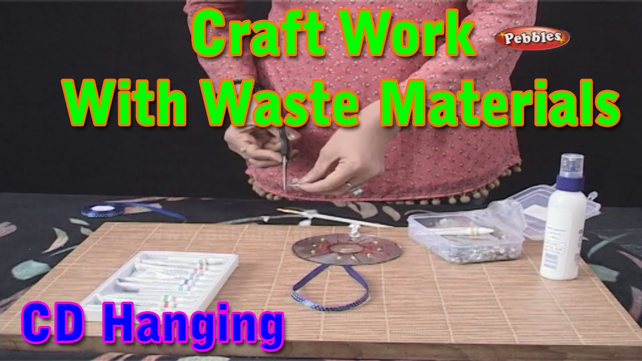 Cd hanging craft work with waste materials learn craft for Waste material activity