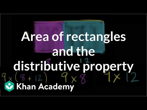 Area of rectangles and the distributive property | Measurement | Pre-Algebra | Khan Academy