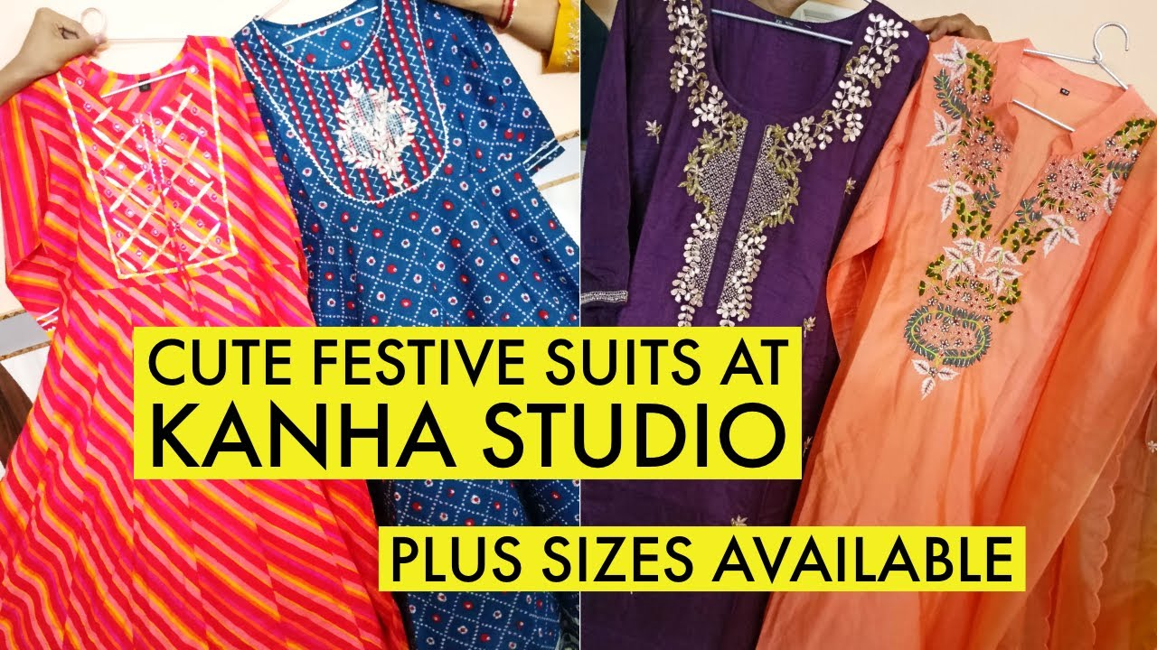 Gorgeous Festive Kurtis, Full Suit at Kanha Studio. 1 Piece Also Available. Plus sizes available.