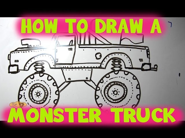 How To Draw A Monster Truck Big Tires Engine And Attitude Youtube