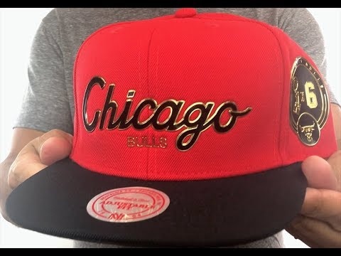 12589bf5b986e Bulls  CITY CHAMPS SCRIPT SNAPBACK  Red-Black Hat by Mitchell and Ness