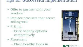 Chronic Disease Prevention Webcast Series: Nutrition and Model Vending Standards