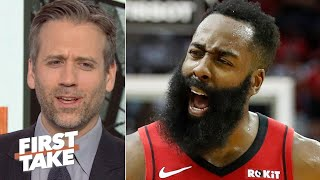 Download 'Are you kidding?' – Max Kellerman reacts to James Harden's controversial dunk | First Take Mp3 and Videos