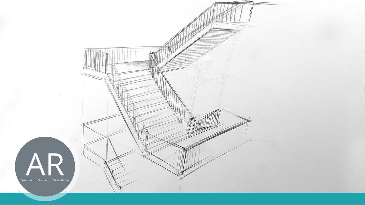 ArchitekturZeichnungen Treppen zeichnen lernen