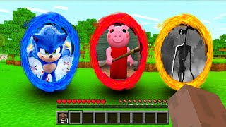 Minecraft : DO NOT CHOOSE THE WRONG PORTAL! (SONIC,PIGGY,SIRENHEAD) (PS4/XboxOne/PE/MCPE)