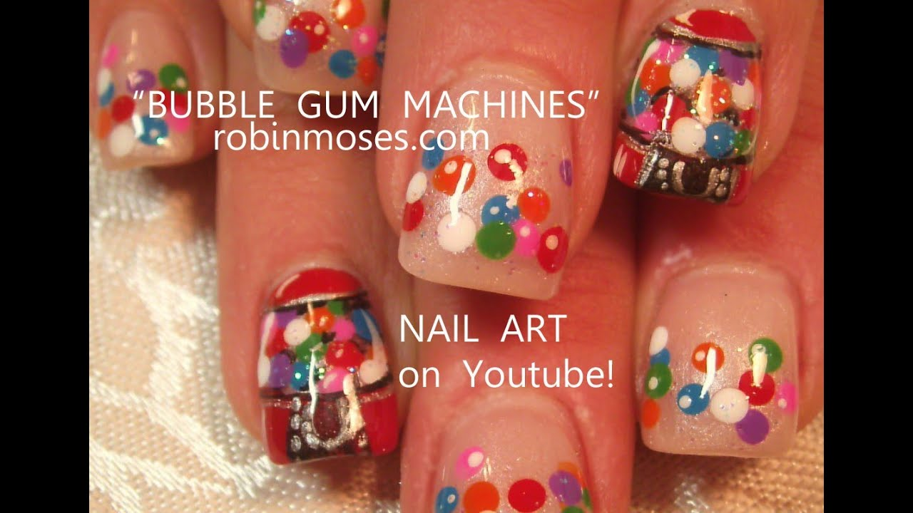 Gumball Machine Candy Nail Art design tutorial!! - YouTube