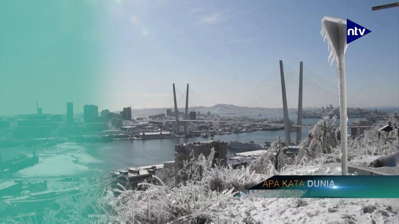 Gegara Topan, Vladivostok Berubah Jadi Kota Es
