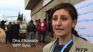Displaced Families Receiving Food Inside War-Torn Syria