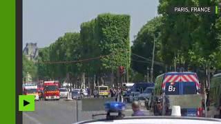 Un véhicule a explosé après avoir heurté un fourgon de la gendarmerie sur les Champs-Elysées. Le conducteur, grièvement blessé, a été interpellé en possession d'une arme. La police privilégie un «acte