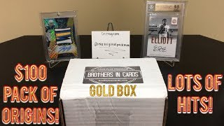 Brothers In Cards Football Pack Plus Program September Gold Box! $100 PACK OF ORIGINS!!! HITS!!!