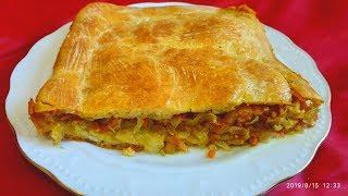Сели и сразу съели,уплетали за обе щеки.Супер Быстрый Капустный Пирог.a pie with cabbage