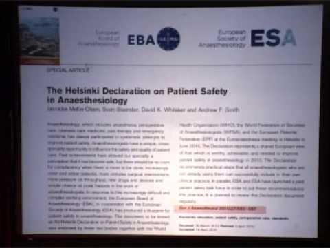 Helsinki Declaration on Patient Safety in Anaesthesiology