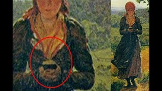 Mujer en pintura de 1860 camina mientras mira su teléfono móvil ¿Viajero del tiempo? 2017