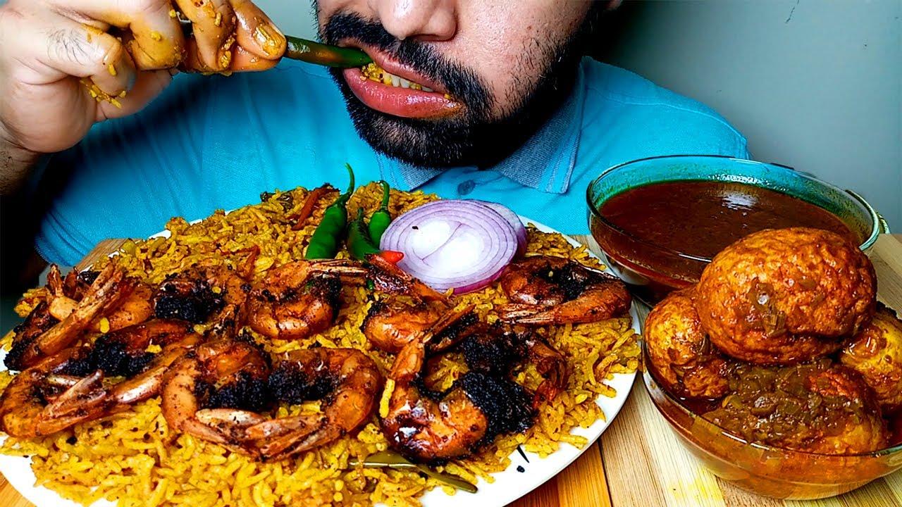 SPICY PRAWN BIRYANI, EGG CURRY, ONION EATING SHOW#HUNGRYpiran