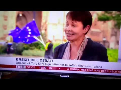 BBC News at Parliament EU flagbomb by SODEM & EUFLAGMAFIA during Caroline Lucas interview 07.09.17
