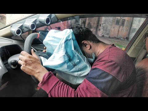Testing my car's AirBag | Carbon fiber steering wheel installation | Honda Civic Modified!!!