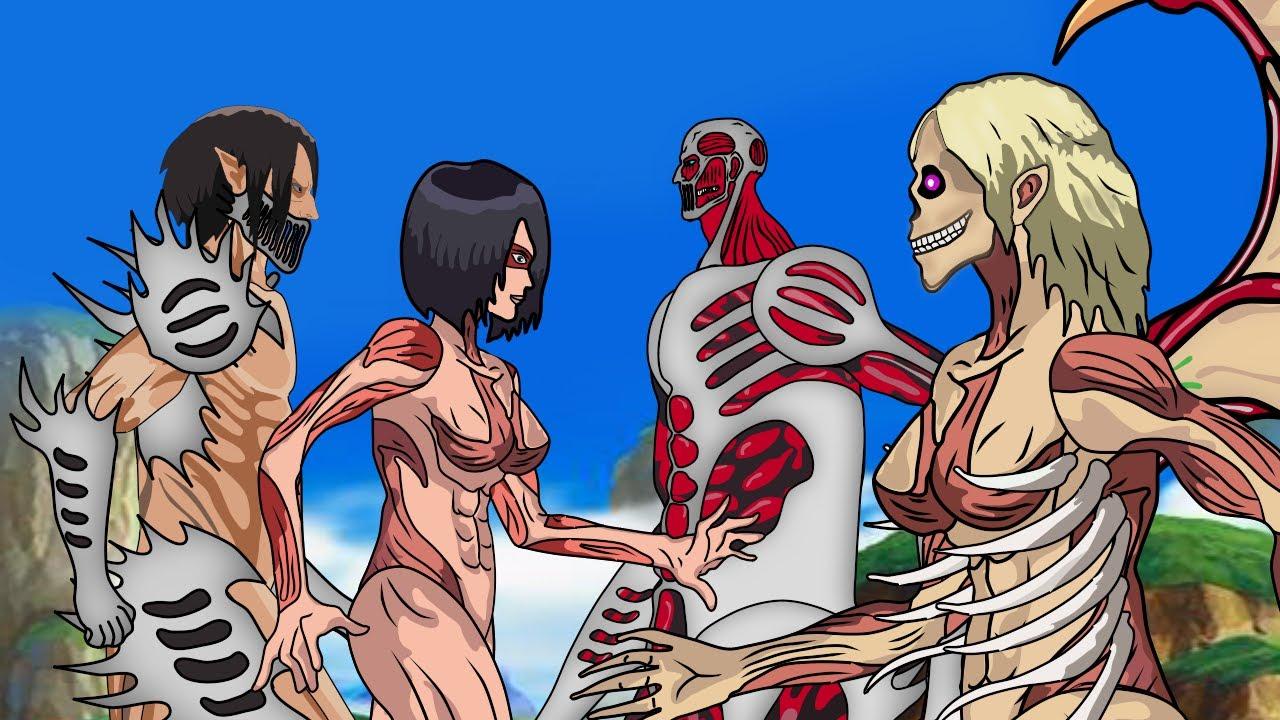 Attack Titan + Mikasa Female Titan Fusion Vs Ymir Founding Titan + Colossal Titan | Attack On Titan