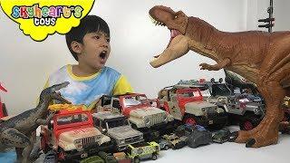 Jurassic World CARS! Skyheart opens matchbox vehicles with dinosaur toys for kids