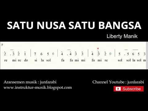 Not Angka Satu Nusa Satu Bangsa - Do = C Mayor - Lagu Wajib Nasional - Solmisasi