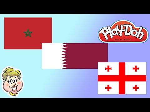 Play-Doh Flags! Qatar, Morocco, and Georgia! EWMJ #164
