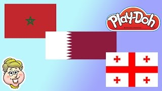 Play-Doh Flags! Qatar, Morocco, and Georgia! EWMJ #164