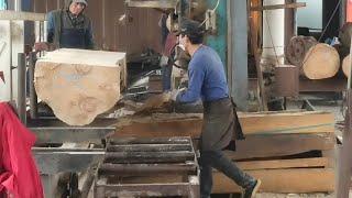 【锯木工】大圆木这样一片一片锯木下来