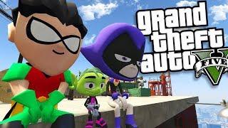 "TEEN TITANS ""RAVEN"" MOD w/ BEAST BOY, ROBIN AND CYBORG (GTA 5 PC Mods Gameplay)"