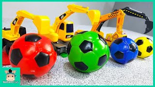 Colors for Children Learn with Tayo Toy Excavator Truck. Learn Colors with Soccer Ball | MariAndToys