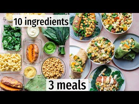 10 ingredients, 3 effortless vegan meals   VEGAN MEAL PREP (+PDF guide)