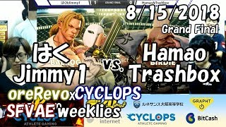 【SFVAE】oreRevo × CYCLOPS定例対戦会 GF Haku & Jimmy1 vs. Hamao & Trashbox 2018/8/15