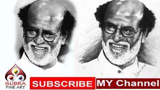 Superstar Rajinikanth Pencil Portrait Drawing Video | How To Draw Superstar Rajinikanth Portrait