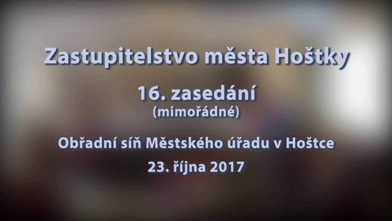 Zastupitelstvo města Hoštky - 16. zasedání (mimořádné) ze dne 23. 10. 2017