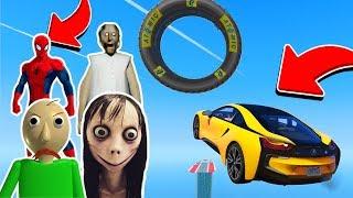Örümcek Adam, Baldi, Granny ve Momo En Uzun Rampadan Uçuyor! - Gta 5 (Çizgi Film Tadında)