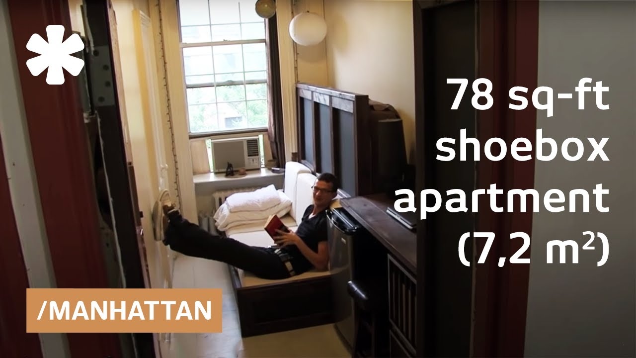 Studio Apartment Manhattan manhattan shoebox apartment: a 78-square-foot mini studio - youtube