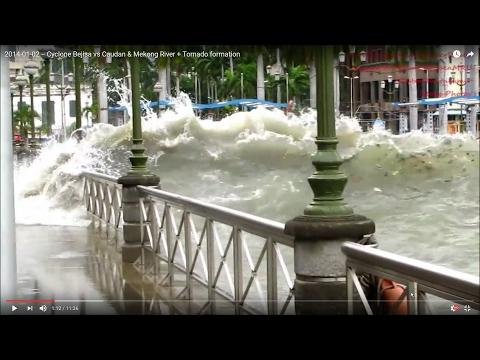 2014-01-02 -- Cyclone Bejisa vs Caudan & Mekong River + Tornado formation