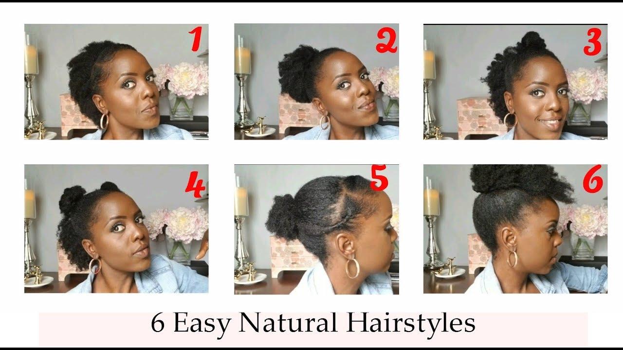 6 Quick Natural Hairstyles For Black Women Short Medium Hair Youtube