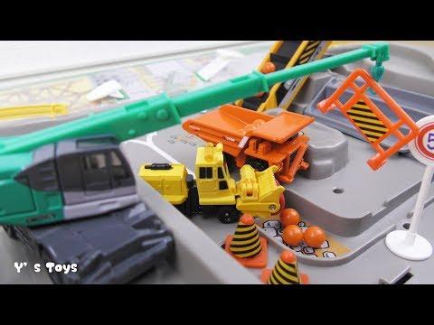 TOMICAin the construction site! トミカ はたらくくるま service vehicle Video for kids工事現場 ダンプカー ショベルカー