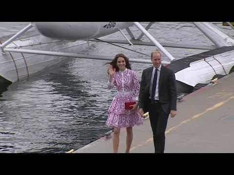 Will and Kate arrive in Vancouver by seaplane