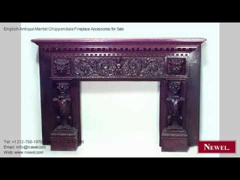 English Antique Mantel Chippendale Fireplace Accessories
