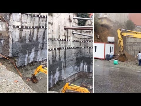Building Collapses On Bulldozer In Istanbul