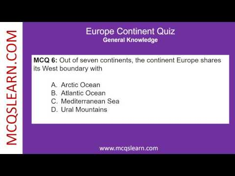 Europe Continent Quiz - MCQsLearn Free Videos