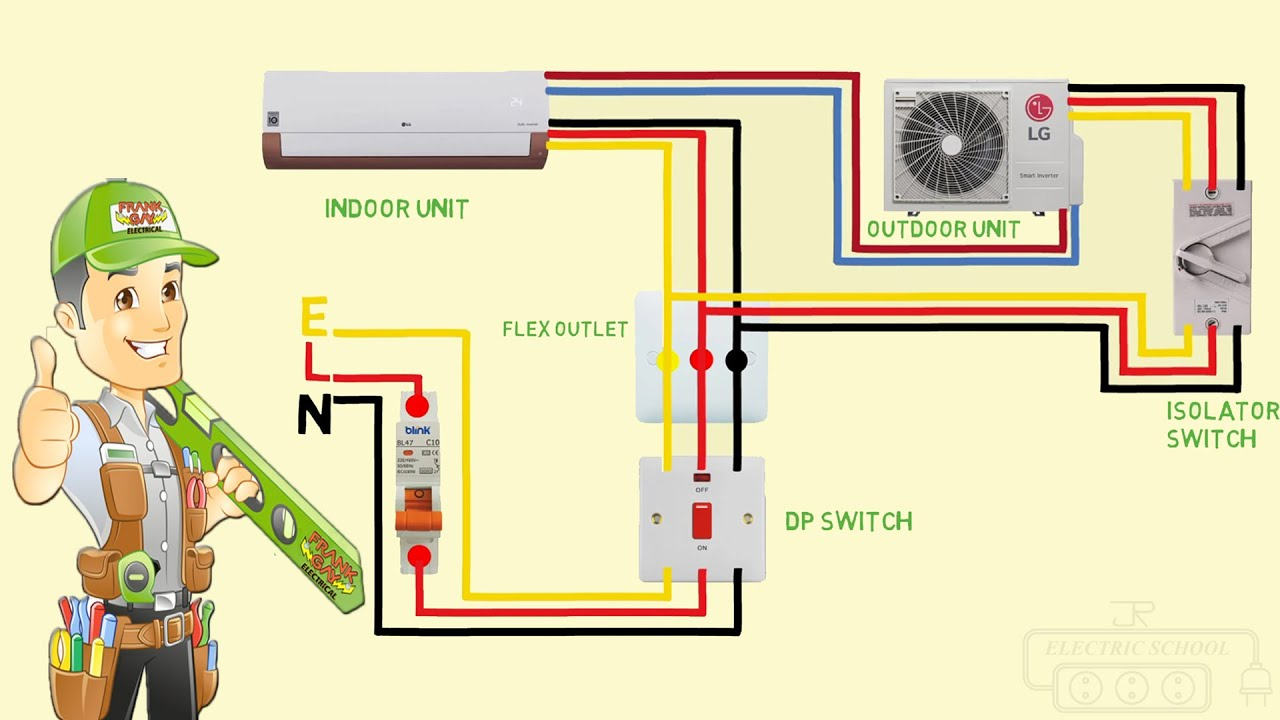 split ac wiring diagram indoor outdoor single phase - YouTube
