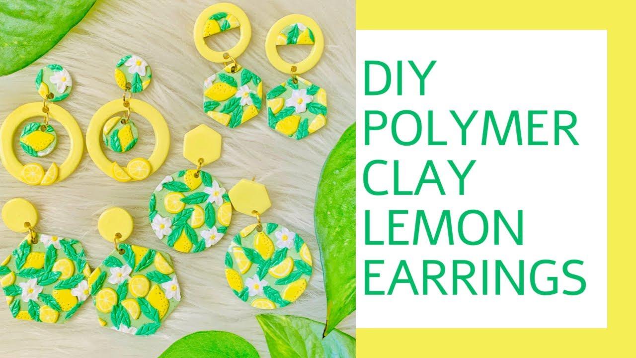 Polymer clay modern wavy earrings yellow