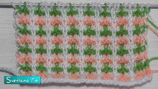 Трехцветный узор. Ленивый жаккард. Видеоуроки по вязанию спицами # 580