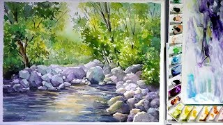 Watercolor landscape painting : a Stream