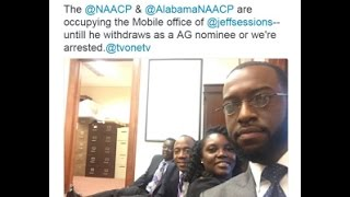 NAACP does lame sit-in against Jeff Sessions (Trump's choice for Attorney General) Free HD Video