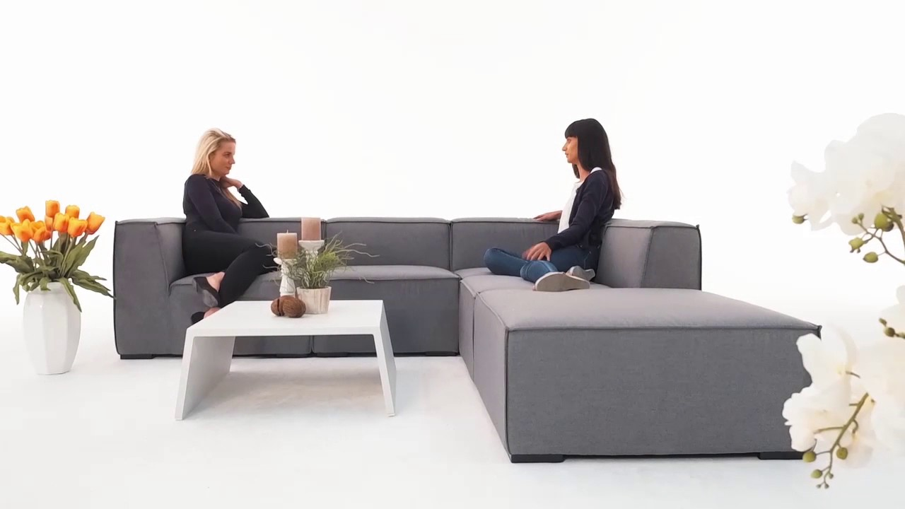 Rattan lounge grau  Agnes Outdoor Lounge Sunbrella Fabric grau - YouTube